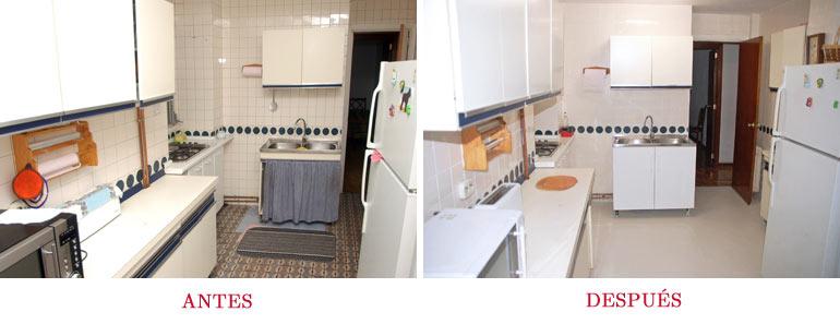 Cocina antes y después de preparar la casa para vender