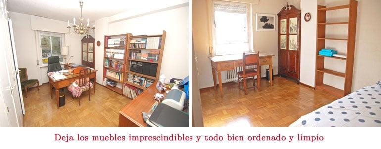 Dormitorio antes y después de preparar la casa para vender