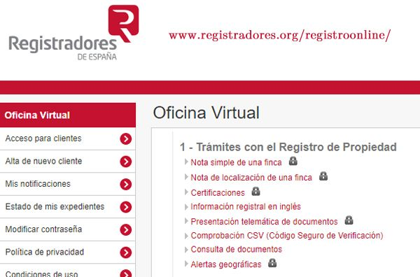 Web para pedir nota simple, parte de la documentación para vender una casa en Madrid